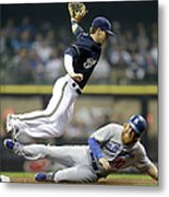 Scooter Gennett and Justin Turner Metal Print
