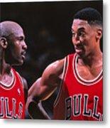 Scottie Pippen and Michael Jordan Metal Print