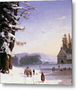 Snow Scene In The South Of France, 1868 Metal Print