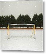 Soccer net in winter Metal Print