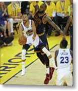 Stephen Curry and Lebron James Metal Print