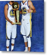 Stephen Curry and Quinn Cook Metal Print