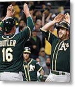 Stephen Vogt and Billy Butler Metal Print
