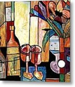 Still Life with Wine and Flowers for two take 2  Metal Print