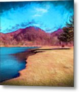 Strolling By The Blue Metal Print
