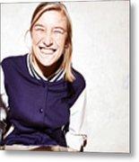 Studio shot of young woman eating chocolate marshmallows Metal Print