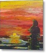 Sunset Baboon Metal Print