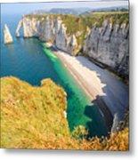 The white cliffs of Etretat, the alabaster coast Metal Print