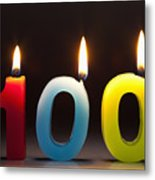 Three Candles In The Shape Of The Number 100 Metal Print