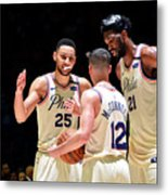 T.j. Mcconnell, Ben Simmons, and Joel Embiid Metal Print