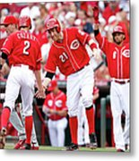 Todd Frazier, Homer Bailey, And Zack Cozart Metal Print