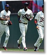 Torii Hunter, Aaron Hicks, and Eddie Rosario Metal Print