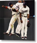 Torii Hunter, Byron Buxton, and Eddie Rosario Metal Print