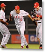 Torii Hunter, Vernon Wells, and Mike Trout Metal Print