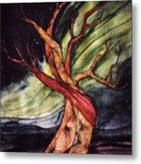 Tree with Northern Lights Metal Print