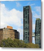 Two Skyscrapers connected by a sky bridge in the middle of the building height Metal Print