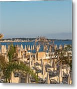 Umbrellas and beach chairs on the beach, Cannes, French Riviera Metal Print