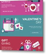 Valentine's Day Banners Metal Print