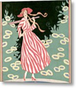 Vogue Cover Illustration Of A Woman Walking By A Pond Metal Print