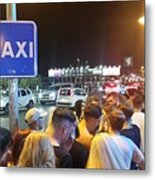 Waiting for taxis At rush hour Ibiza Spain Metal Print