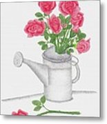 Watering Can With Red Roses Metal Print