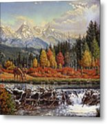 Western Mountain Landscape Autumn Mountain Man Trapper Beaver Dam Frontier Americana Oil Painting Metal Print