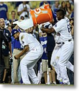 Yasiel Puig and Matt Kemp Metal Print