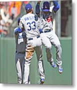 Yasiel Puig, Scott Van Slyke, and Matt Kemp Metal Print