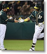 Yoenis Cespedes and Mike Gallego Metal Print