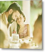 Young girl embracing father during outdoor wedding reception dinner Metal Print