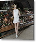Young Woman Shopping Vegetables In Mall Metal Print