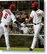 Yunel Escobar and Denard Span Metal Print