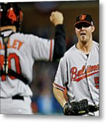 Zach Britton and Nick Hundley Metal Print