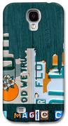 Miami Florida City Skyline Vintage License Plate Art On Wood Galaxy S4 Case by Design Turnpike