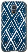 Indgo And White Diamonds Large Galaxy S5 Case by Linda Woods