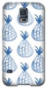 White And Blue Pineapple Party Galaxy S5 Case by Linda Woods