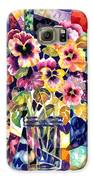 Stained Glass Pansies Galaxy S6 Case by Ann  Nicholson