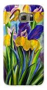 In Memory Of My Father - Three Blue And Yellow Irises Galaxy S6 Case by Therese AbouNader