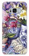 Daffodils Tulips And Iris In A Jacobean Blue And White Jug With Sanderson Fabric And Primroses Galaxy S8 Case