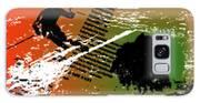 Grunge Winter Background With Skier Galaxy S8 Case