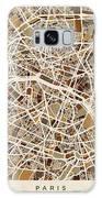 Paris France Street Map Galaxy Case by Michael Tompsett