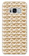 White Triangles On Burlap Galaxy Case by Linda Woods