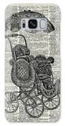 Baby Pram Over A Vintage Dictionary Page Galaxy Case by Anna W