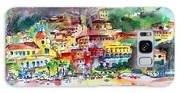 Amalfi Coast Positano Summer Fun Watercolor Painting Galaxy S8 Case