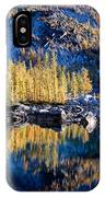 Larch Tree Reflection In Leprechaun Lake IPhone Case
