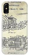 1939 Motorcycle Patent Drawing IPhone Case