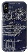 1950 Motorcycle Patent Drawing Blue IPhone Case