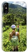 A Young Woman Hikes Through The Jungles IPhone Case