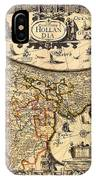 Antique Map Of Holland 1630 IPhone Case