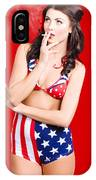 Attractive Usa Pinup Woman Smoking IPhone Case